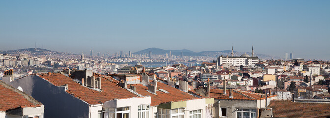 Istanbul skyline with Asian side and galata tower