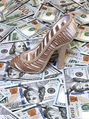 Women's shoe on a background of US dollars bills