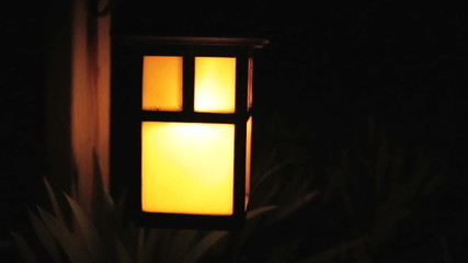Close view of outdoor japanese light fixture