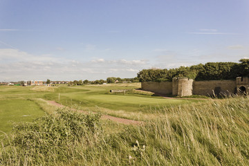 View of the 1st Hole at Leasowe Golf Club, Wirral, England