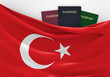 Travel and tourism in Turkey, with assorted passports