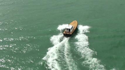 Pilot boat in the sea