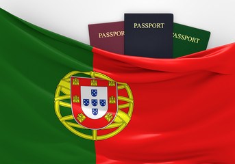 Travel and tourism in Portugal, with assorted passports