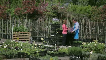 Mature male worker showing plants to female customer in garden centre