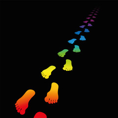 Footprint Rainbow Gradient Black