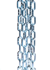 Several metal chains hanging vertically isolated