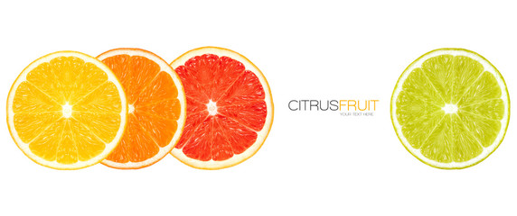 Closeup of Healthy Fresh Citrus Fruits. Template Design