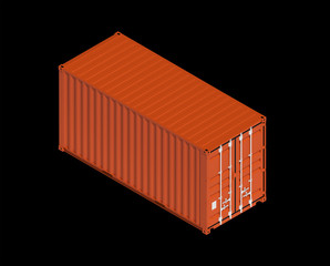 Red metal freight shipping container isolated on black