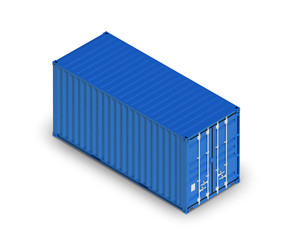 Blue metal freight shipping container isolated on white