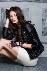 Beautiful young girl in a black blazer