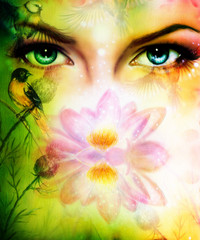 color painting, pair of beautiful blue women eyes beaming up enc