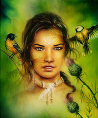 beautiful portrait of a young enchanting woman face with birds,