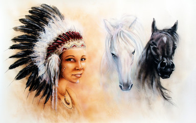 beautiful airbrush painting of a young indian woman wearing a g