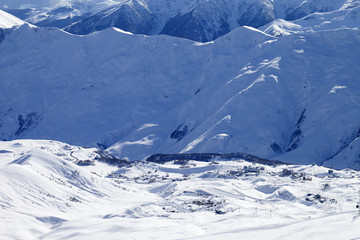 View on ski resort and off-piste slope