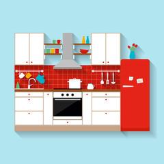 Kitchen interior. Flat style illustration