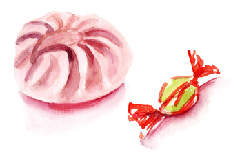 Watercolour meringue and candy on a white background
