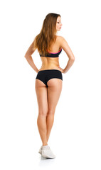 Athletic girl on white background, view from the back
