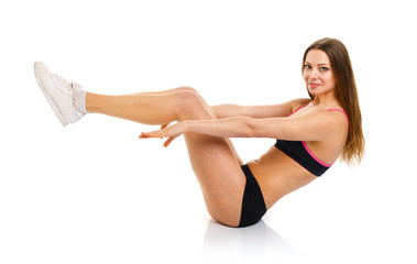 Beautiful sport woman sport exercise, isolated on white