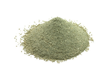 powder green cosmetic clay on a white background
