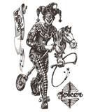 cheerful joker vector logo design template. circus or clown icon