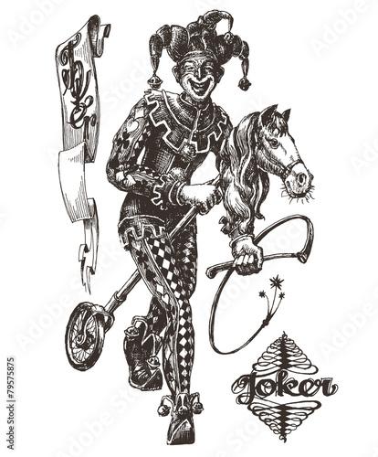 cheerful joker vector logo design template. circus or clown icon - 79575875
