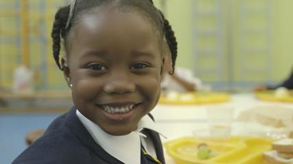 A girl in a school canteen