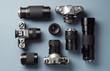Leinwandbild Motiv Collection of vintage cameras