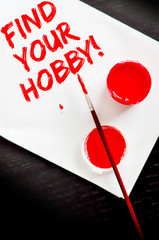Find your hobby text on blank paper sheet