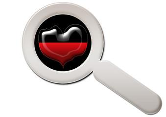 Lupe mit Herz / Herzgesundheit