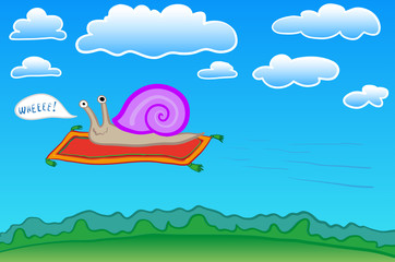 snail on a flying carpet
