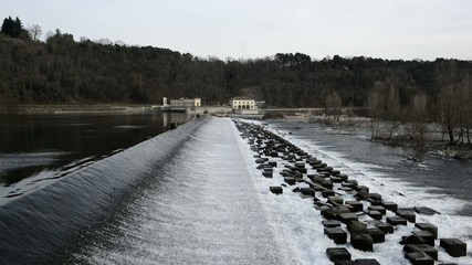 Dam of Panperduto on the Ticino River, Lombardy - Italy