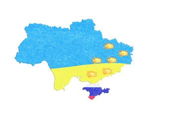 Landkarte Ukraine, Karte mit kleinen Feuern.