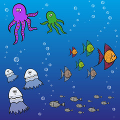wildlife of ocean - octopus, fish and jellyfish