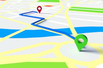 Start und Ziel einer Navigation mit GPS