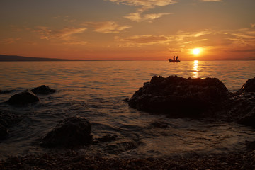 Sunset on adriatic sea