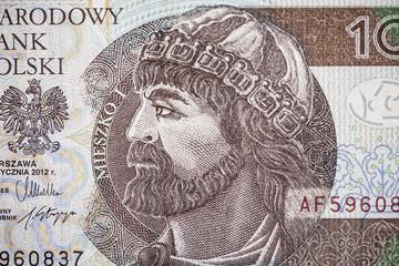 Portrait of Mieszko I on 10 polish zloty