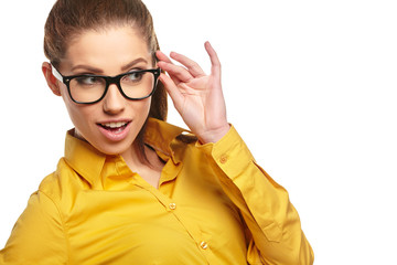 Business woman with glasses on isolatd background