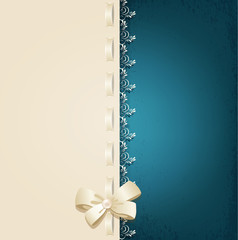 vector template for wedding background with lace, satin ribbon a