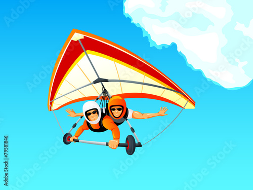 Fototapeta Cheerful hang gliding tandem flying in sky