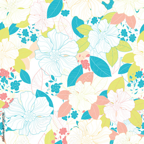 Cotton fabric Seamless floral pattern.