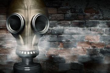 Gas mask shrouded in smoke