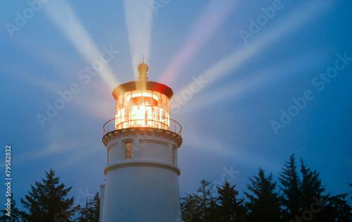 Lighthouse Beams Illumination Into Rain Storm Maritime Nautical - 79582832