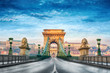 canvas print picture - Chain bridge Budapest Hungary