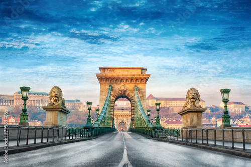 Public place Chain bridge Budapest Hungary