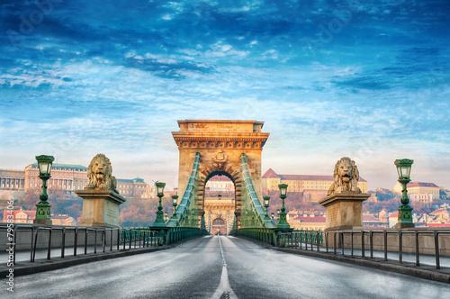 Poster Chain bridge Budapest Hungary