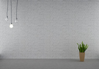 White brick wall with bulbs and plant