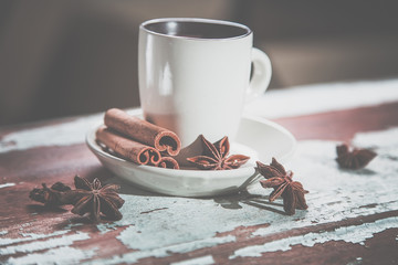 hot chocolate with cinnamon, vintage photos