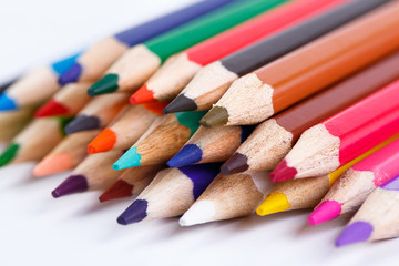 Colour pencils isolated on white background