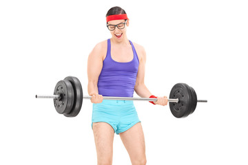 Nerdy guy exercising with a weight