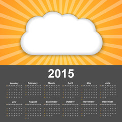 Calendar 2015. Background cloud on a sunny sky.